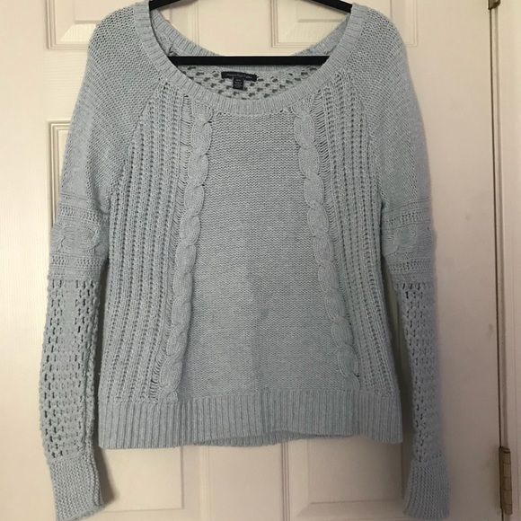 56a02513402 AE Light blue cable knit sweater